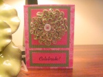 Greeting Card with Ruched Flower Embellishment