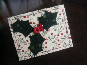 Holly Holiday Card made with Die Cut Machine and Fabric