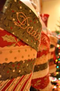 Embroidered Scrap Fabric Stockings